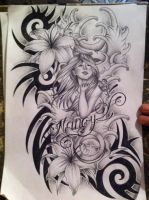 Lily tattoo design with tribal by tattoosuzette