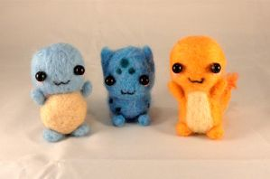Complete Set of Needle Felted Kanto Starters! by Charlottejks