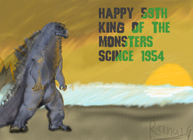 Happy 59th Godzilla by randomcharacterspace