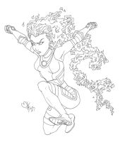 Young Justice!! StarFire (line art) by BobsCookie