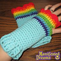 Rainbowdash inspired arm warmers by ManifestedDreams