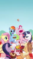 Mane 6 having a Picnic by dannylim86