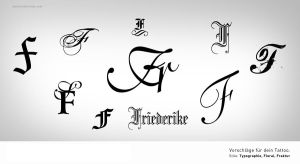 typographic tattoo inital F by schledde
