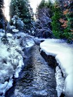 Miner's Ditch in Snow by Caitiekabob