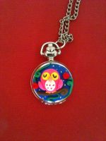 Pocket watch pink owl by anapeig