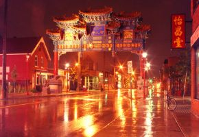 Chinatown in the rain by neon-lilith