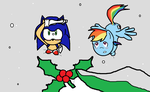 Sonic X rainbow dash christmas mistletoe by TJ0001