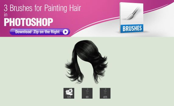 3 Brushes for Painting Hair in Photoshop by pixelstains