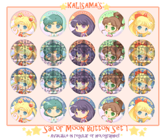 Sailor Moon Holographic Chibi Buttons and Magnets by Kalisama