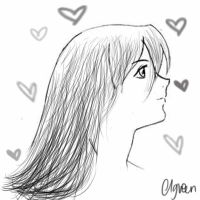 Manga girl side profile in black n white by charlottegreen