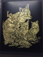Fox and Cubs Engraving by scheuenprinny