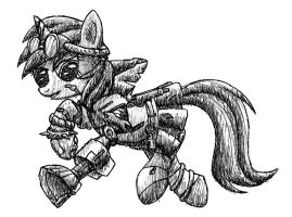 Dinky Doo the Mechromancer - pen sketch by MetaDragonArt