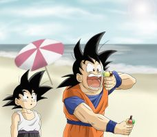 Goku and Goten at the Beach by Barbicanboy