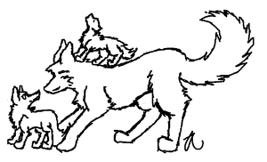 Wolf and pups lineart by anti-social-DEMON