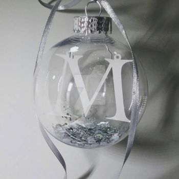 M Initial Papercut Bauble by ladysilver2267