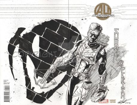 Age of Ultron Sketch Cover--Hawkeye by tedwoodsart