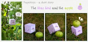 The lilac bird and the apple by PinkBunnyLilli