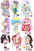 Macaron chibies -CLOSED - by Guppie-Adopts
