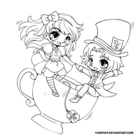 Alice and the Mad Hatter Lineart by YamPuff