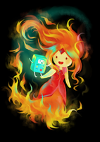 Flame Princess and BMO by monorhapsody