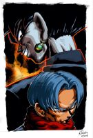 Black Goku Vs Future Trunks Colour by JustGeoffsArt