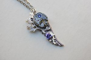 Steampunk purple rose wing by LsUnique