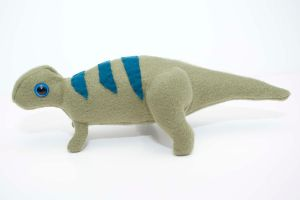 Baby Maiasaura in green by Paleogirl