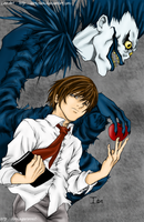 Death Note Light and Ryuk colo by Fayeuh