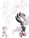 Color Dark Super Sonic Sketches by MeetJohnDoe