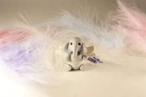 Miniature Gray Elephant with Wings by freedragonfly