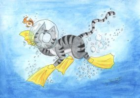 Scuba cat by punki123