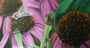 Cone Flowers and Bee Close Up_Acrylic by alyssvisuals
