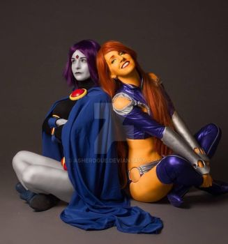 Starfire and Raven by AsheRogue