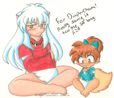Arttrade: Inuyasha and Shippo by AD-SD-ChibiGirl