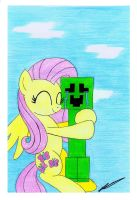 Creeper gets Flutterhugged by AZ-Derped-Unicorn