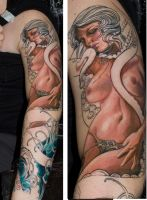 girl and octopuss by tattooneos