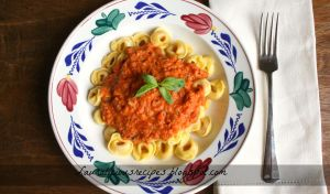 A tomato and parmesan pasta sauce with tortellini by China-Dolly