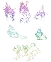 Sketch Dump 2 - TWEWY Dogs by Nyaasu