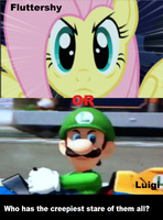 Fluttershy's or Luigi's stare by pikachuandpichu106
