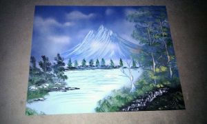 Cool Crisp Mountain Spray Painting by JayLatour