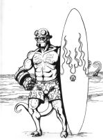 Hellboy at the Beach by aquilianranger