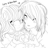 Lyra and Bon Bon lineart by xxfaye