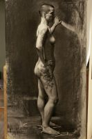 Mi - 3 week pose Chalk and Charcoal by Miles-Johnston