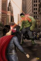 Man of Steel -V- Hulk by RomCas1963