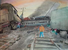 Wreck of train 87 by WhyAyeMann777