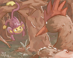 Aipom and Fearow by Tropiking