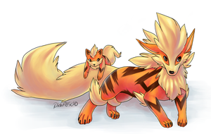 Arcanine and Growlithe. by pichu4850