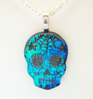 Multi-Blues Dichroic Fused Glass Sugar Skull by HoneyCatJewelry