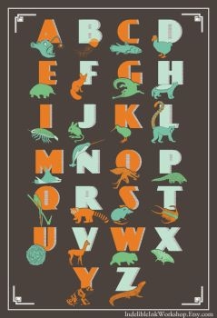 Modern Animal ABCs Poster by IndelibleInkWorkshop