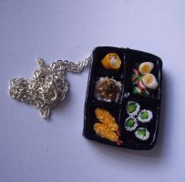 Bento Box Polymer Clay Necklace by ChroniclesOfKate